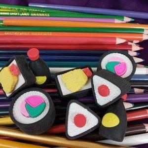 🌈 4/$20 Sushi Erasers Kawaii Stationary